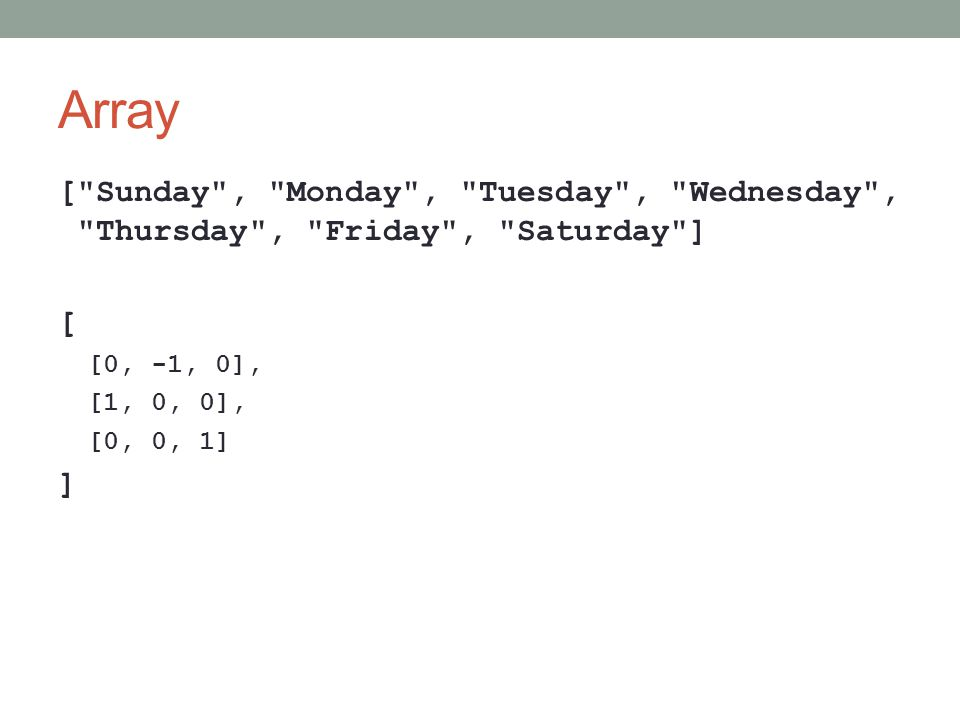Array [ Sunday , Monday , Tuesday , Wednesday , Thursday , Friday , Saturday ] [ [0, -1, 0],